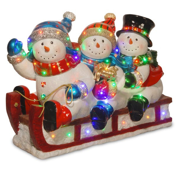 "Outdoor Christmas Decorations On Sale  Shop 29"" Pre Lit Sledding Snowmen Decoration Free"