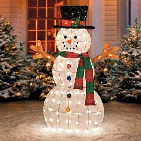 "Outdoor Christmas Decorations On Sale  Buy SALE 48"" Outdoor Lighted Pre Lit Snowman Sculpture"