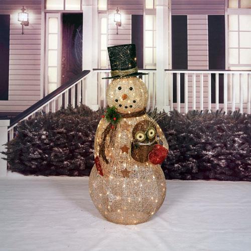 "Outdoor Christmas Decorations On Sale  SALE 52"" LIGHTED PRELIT CHRISTMAS SNOWMAN W OWL SCULPTURE"