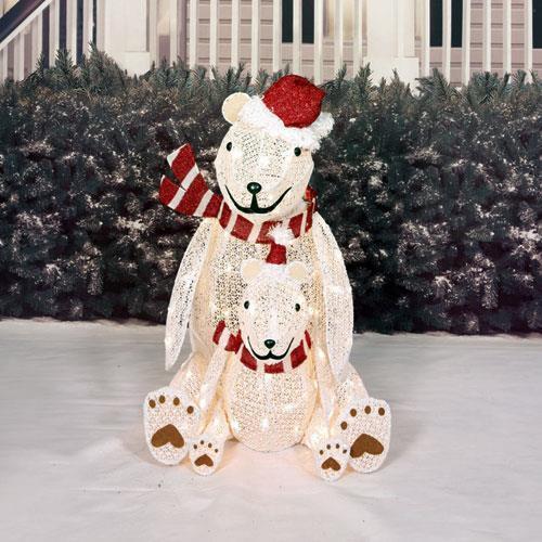 Outdoor Christmas Decorations On Sale  Sale LIGHTED PRE LIT CHRISTMAS POLAR BEAR SCULPTURE