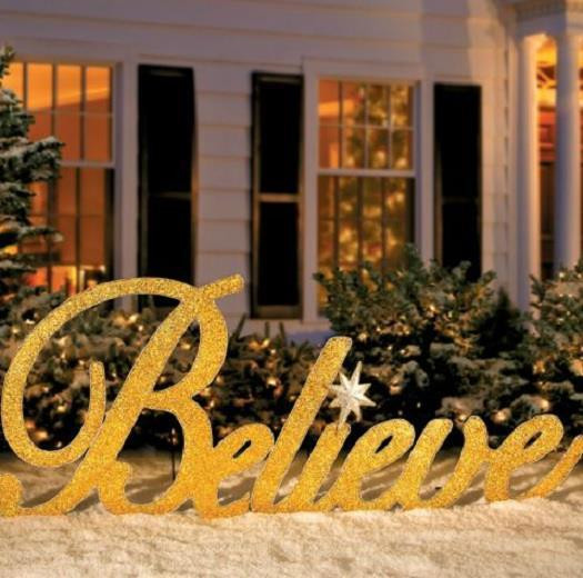"""Outdoor Christmas Decorations Sale  SALE 80"""" GOLD INSPIRATIONAL BELIEVE CHRISTMAS YARD ART"""
