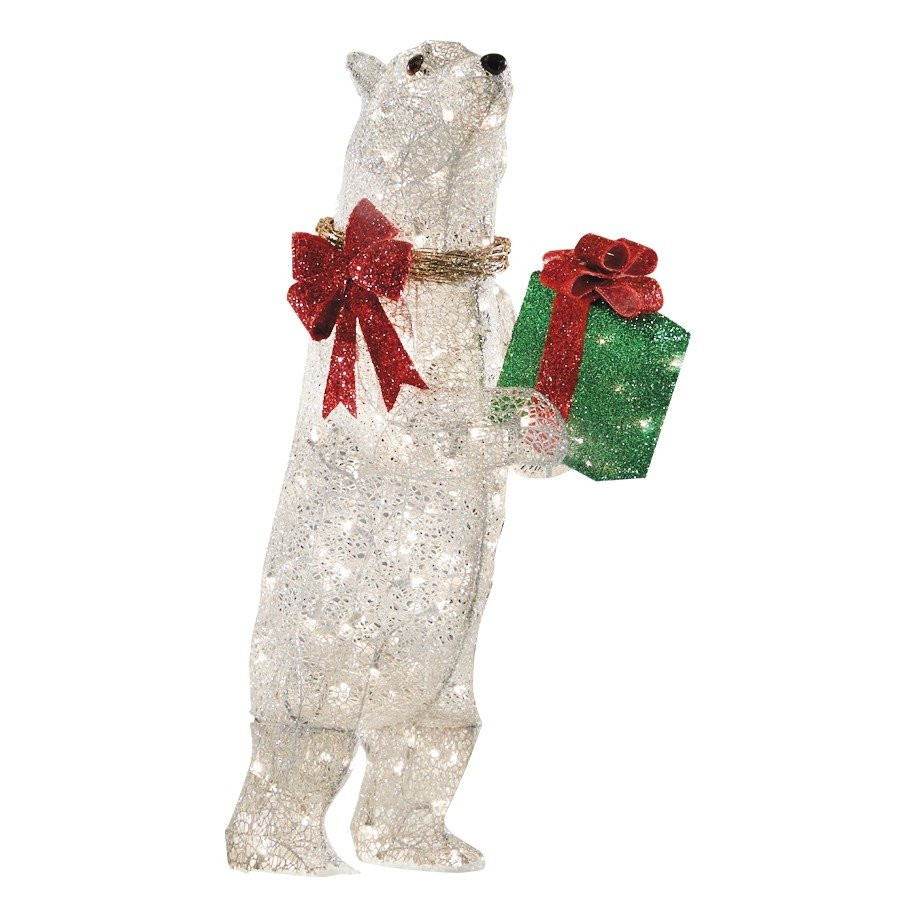 Outdoor Christmas Decorations Sale  Holiday Specs 42 in Lighted Mesh Polar Bear Outdoor