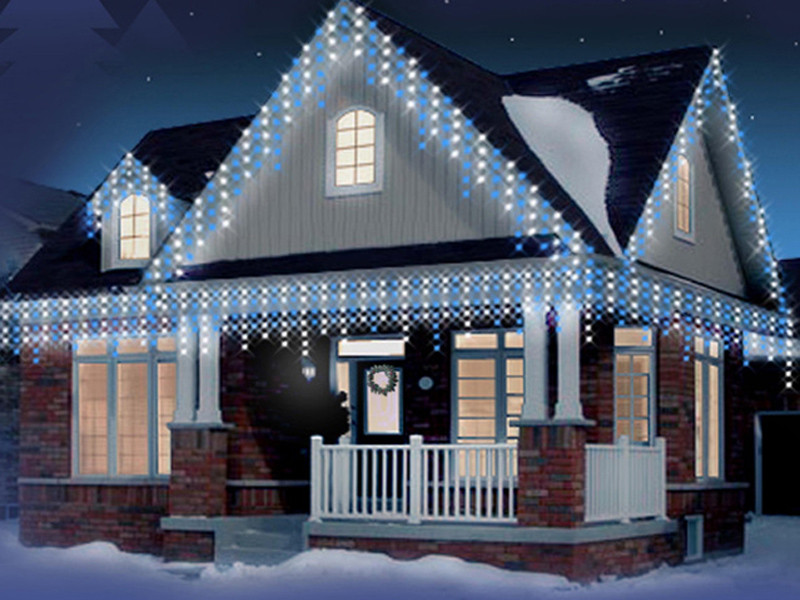 Outdoor Christmas Icicle Lights  CHRISTMAS ICICLE SNOWING LED OUTDOOR XMAS PARTY REMOTE