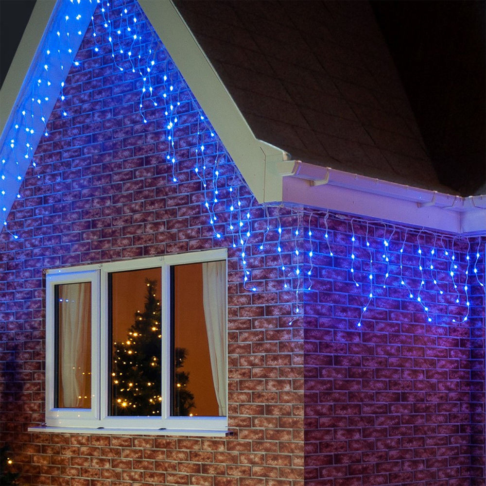 Outdoor Christmas Icicle Lights  144 Light Christmas Party BLUE Icicle Indoor Outdoor LED