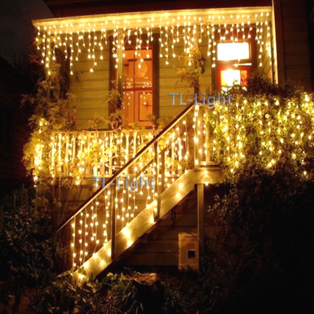 Outdoor Christmas Icicle Lights  10FT Holiday Living 100 Warm White LED ICICLE Indoor