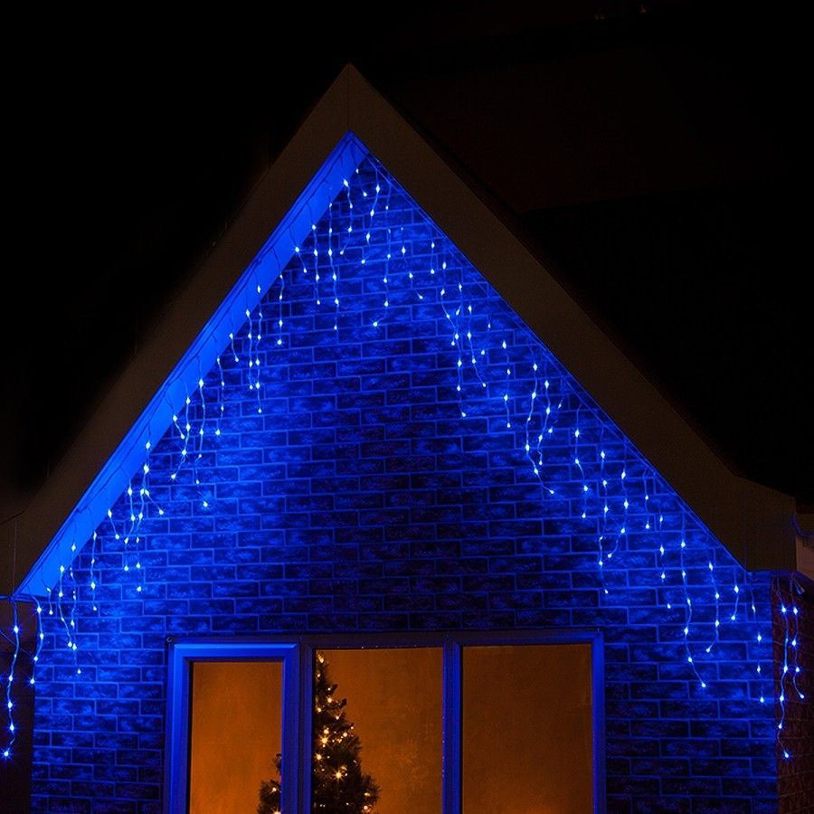 Outdoor Christmas Icicle Lights  360 LED Blue Christmas Icicle Snowing Xmas Lights Party