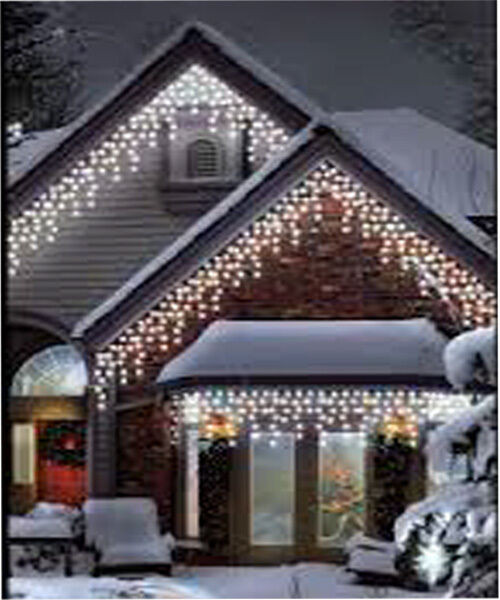 Outdoor Christmas Icicle Lights  960LED White Icicle Chaser Light Outdoor Indoor Christmas