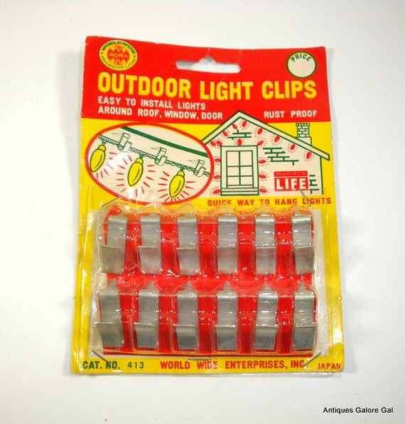 Outdoor Christmas Light Hooks  Vintage Outdoor Light Clips Metal Rustproof New Old Stock