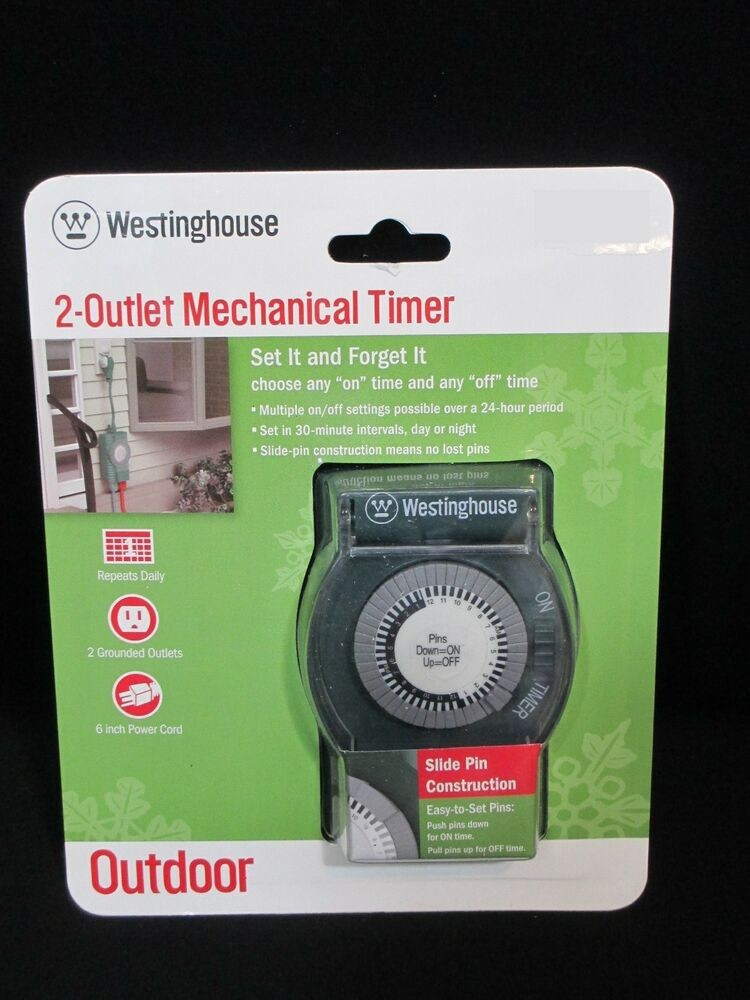 Outdoor Christmas Lights Timers  Westinghouse 2 Outlet Mechanical Timer Outdoor Christmas