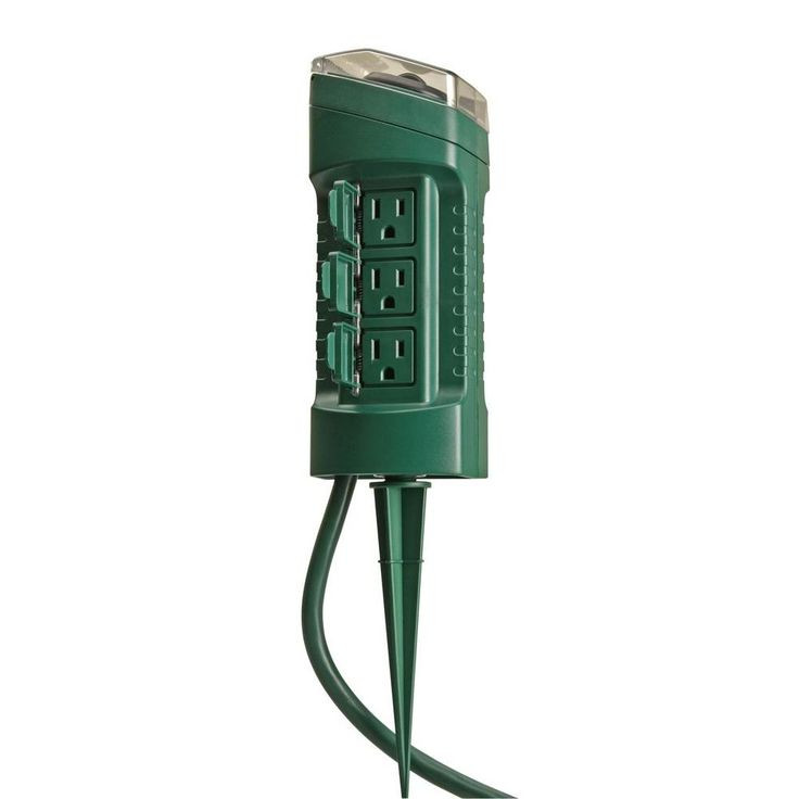 Outdoor Christmas Lights Timers  Woods Outdoor 6 Outlet Yard Stake with cell Light