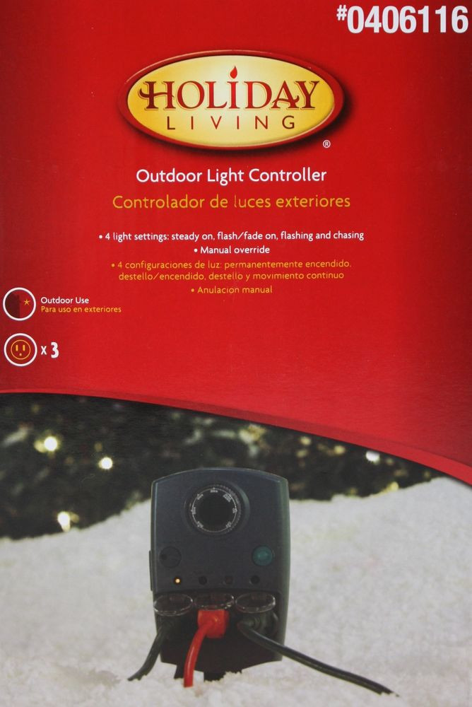 Outdoor Christmas Lights Timers  Holiday Living Mechanical 3 Outlet Outdoor Light