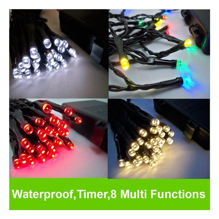 Outdoor Christmas Lights Timers  LED Outdoor WATERPROOF Battery Christmas Lights String