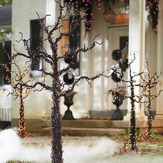 Outdoor Halloween Decorations On Sale  Outdoor Black Lighted Pre Lit Creepy Spooky Tree Poseable