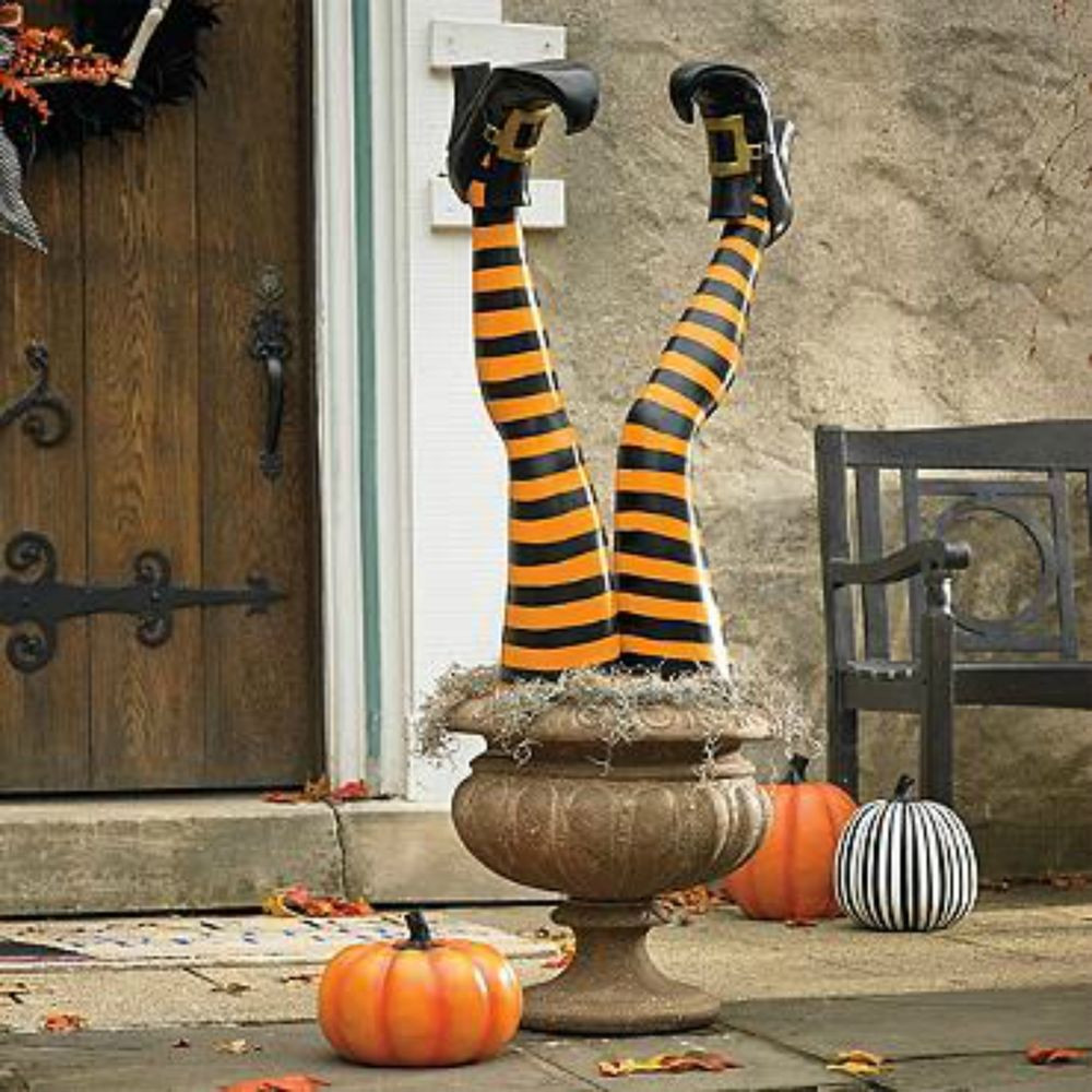Outdoor Halloween Decorations On Sale  SET OF 2 STAKED WITCH LEGS OUTDOOR Halloween Prop