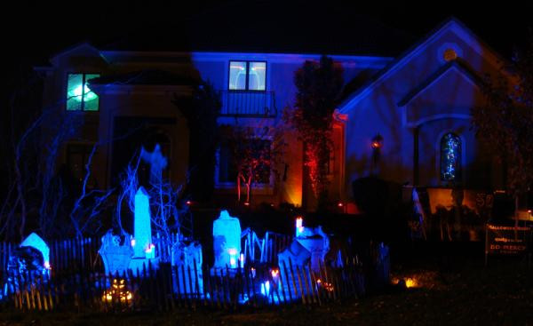 Outdoor Halloween Projector  Haunting Your House for Halloween Effects