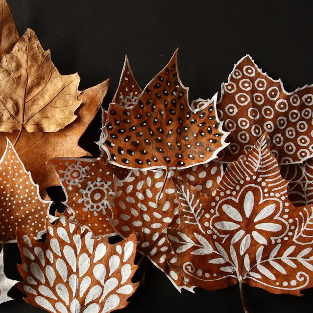 Painting Crafts For Adults  painted leaves design ideas art projects art ideas