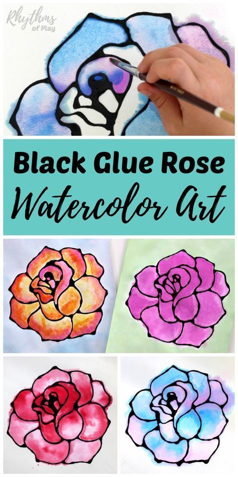 Painting Crafts For Adults  Black Glue Rose Watercolor Resist Art Project