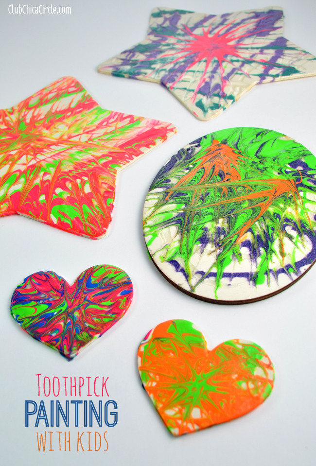 Painting Crafts For Adults  Easy Toothpick Painting with Kids