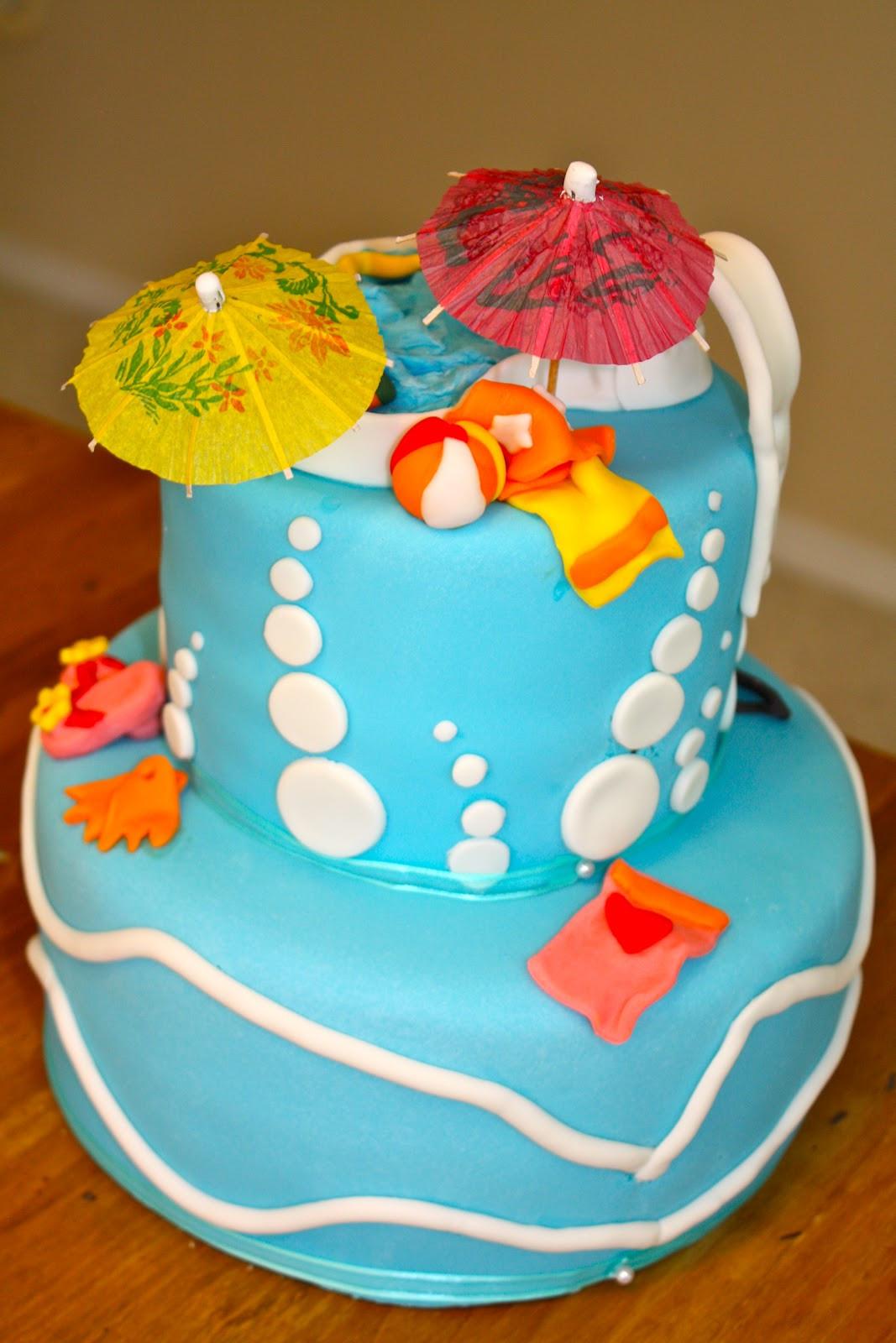 Pool Party Birthday Cakes Ideas  bumble cakes Summer Pool Party Birthday Cake
