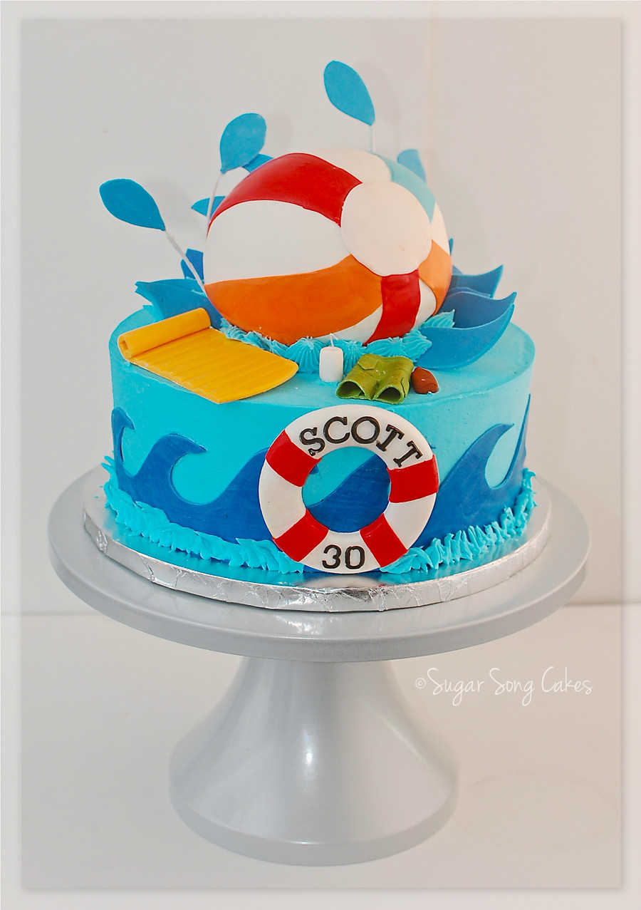 Pool Party Birthday Cakes Ideas  Pool Party Beach Ball Cake CakeCentral