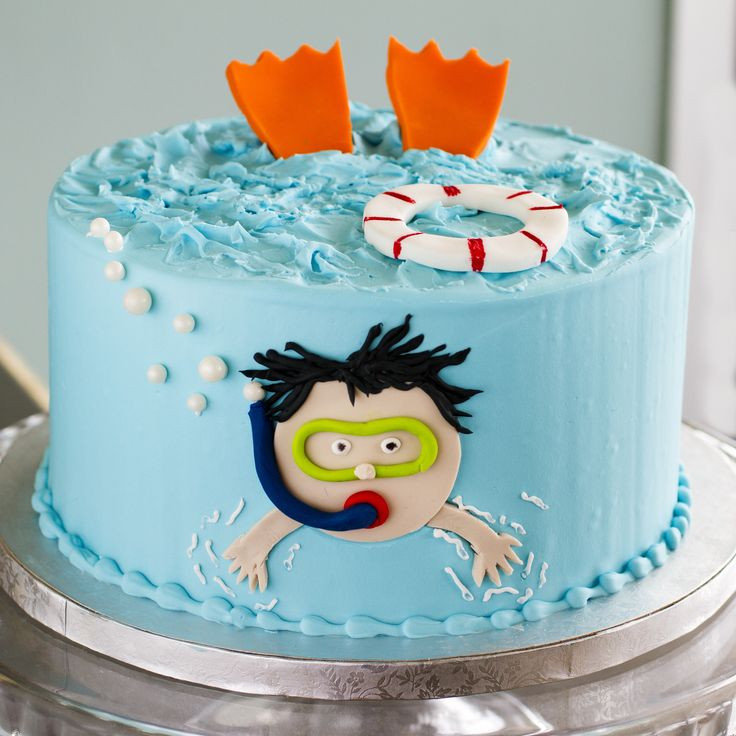 Pool Party Birthday Cakes Ideas  A snorkel cake that s perfect for a pool party Cake 050