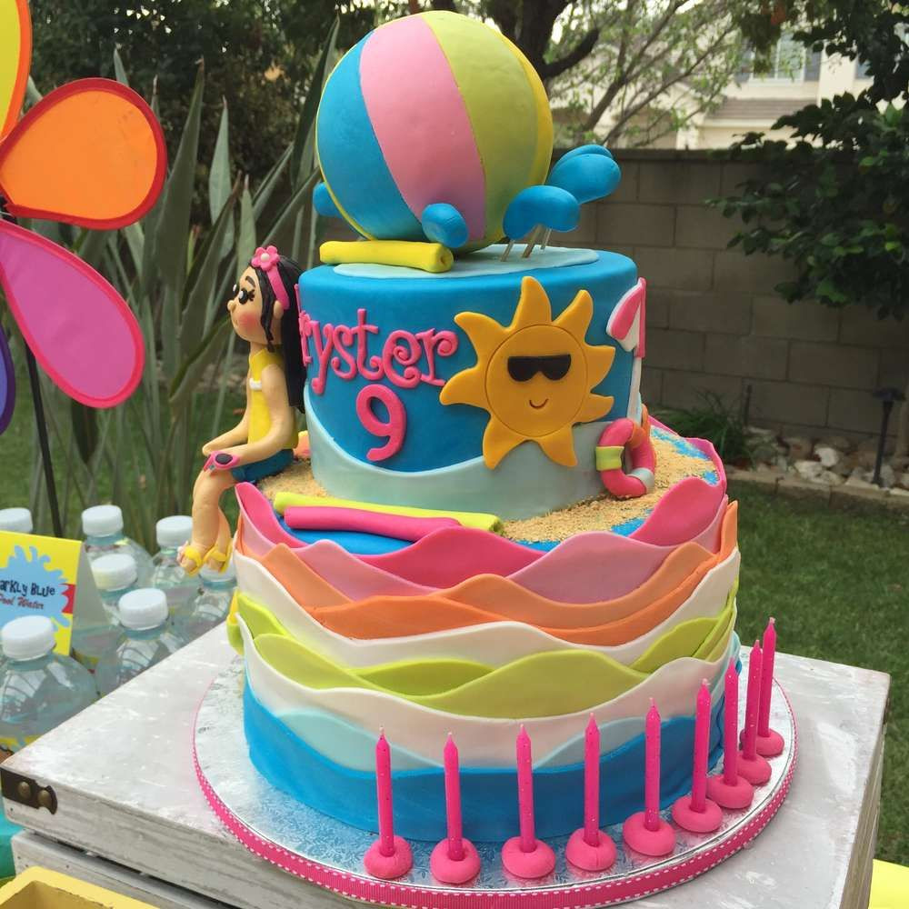 Pool Party Birthday Cakes Ideas  Swimming Pool Summer Party Summer Party Ideas in 2019