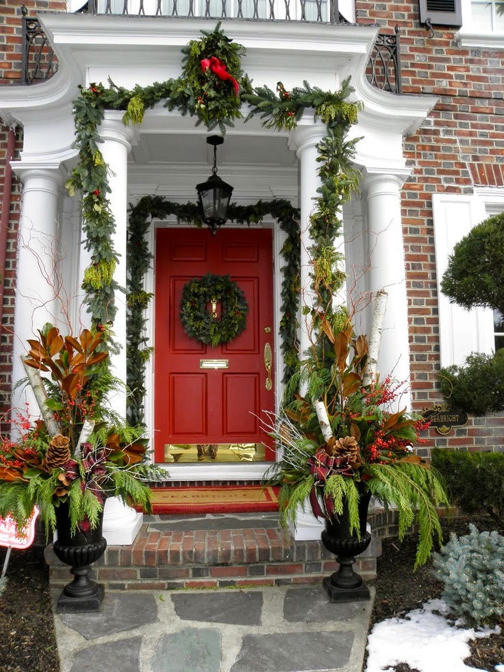 Porch Decor For Christmas  Christmas Ideas 2013 Christmas Front Door Entry and Porch