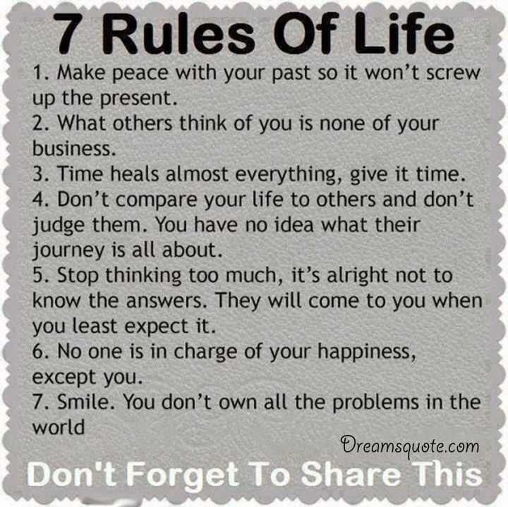 Positive Quotes For Life  Positive quotes about life The 7 Rules of Life deep