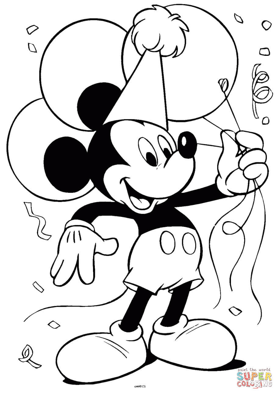 Printable Mickey Mouse Coloring Pages  Mickey Mouse with Balloons coloring page
