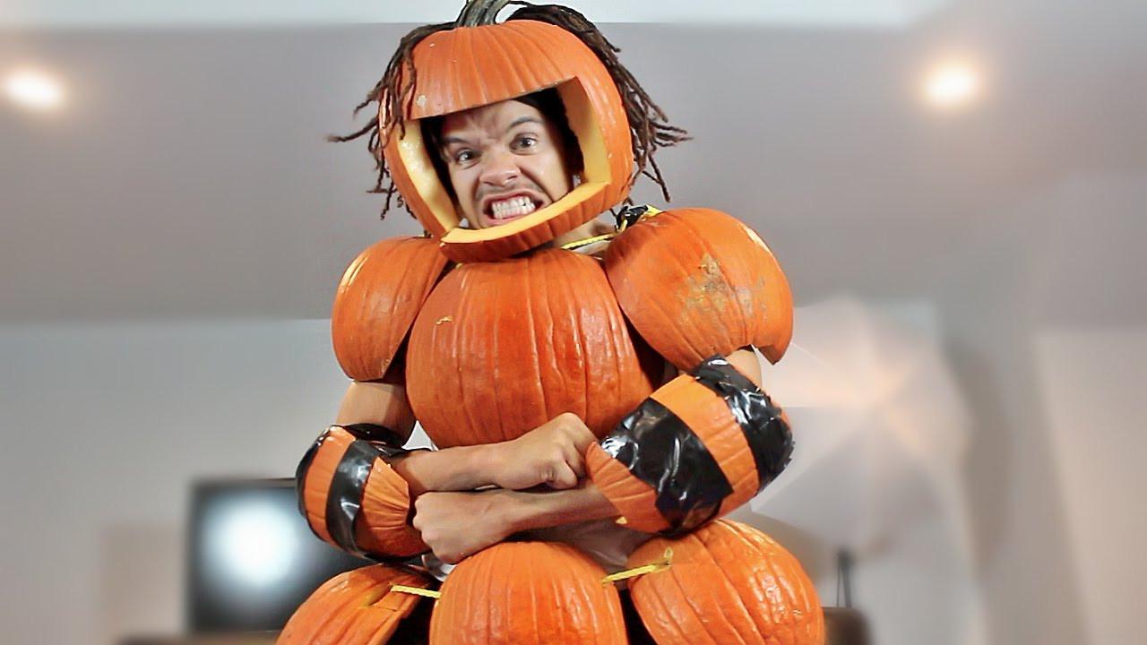 Pumpkin Costume DIY  DIY CRAZY PUMPKIN COSTUME REAL PUMPKINS