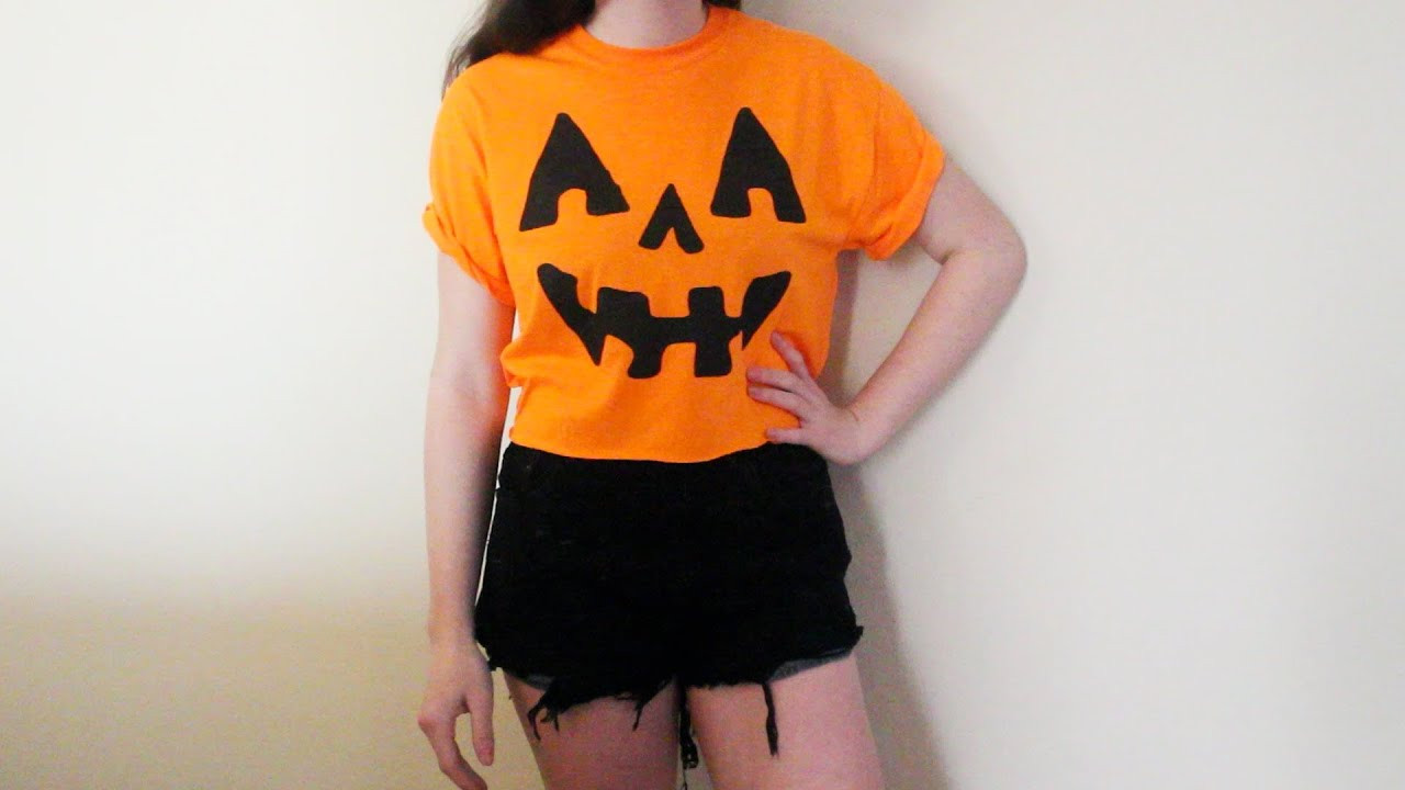 Pumpkin Costume DIY  DIY Halloween Costume Jack O Lantern Pumpkin Crop Top