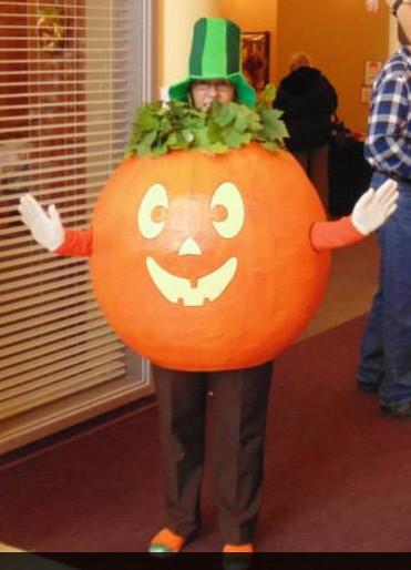 Pumpkin Costume DIY  DIY Pumpkin Costume Made out of paper mache