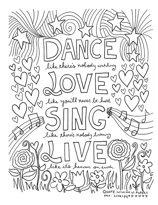 Quote Coloring Pages To Print  FREE Coloring Book Pages for Grown Ups Inspiring Quotes