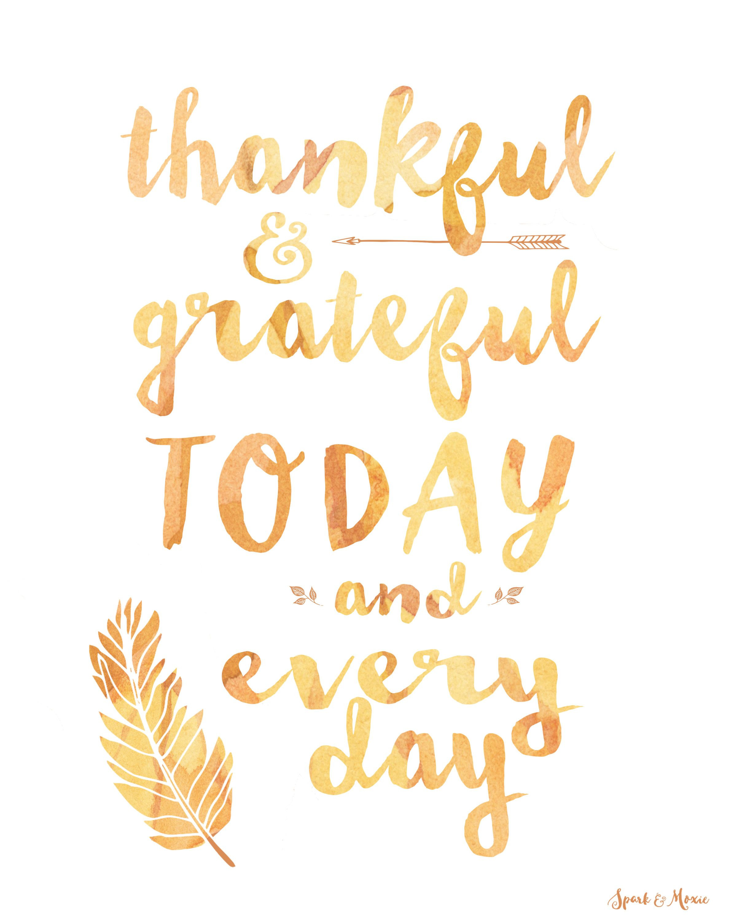 Quote On Thanksgiving  Thankful & Grateful Quote Art Freebie