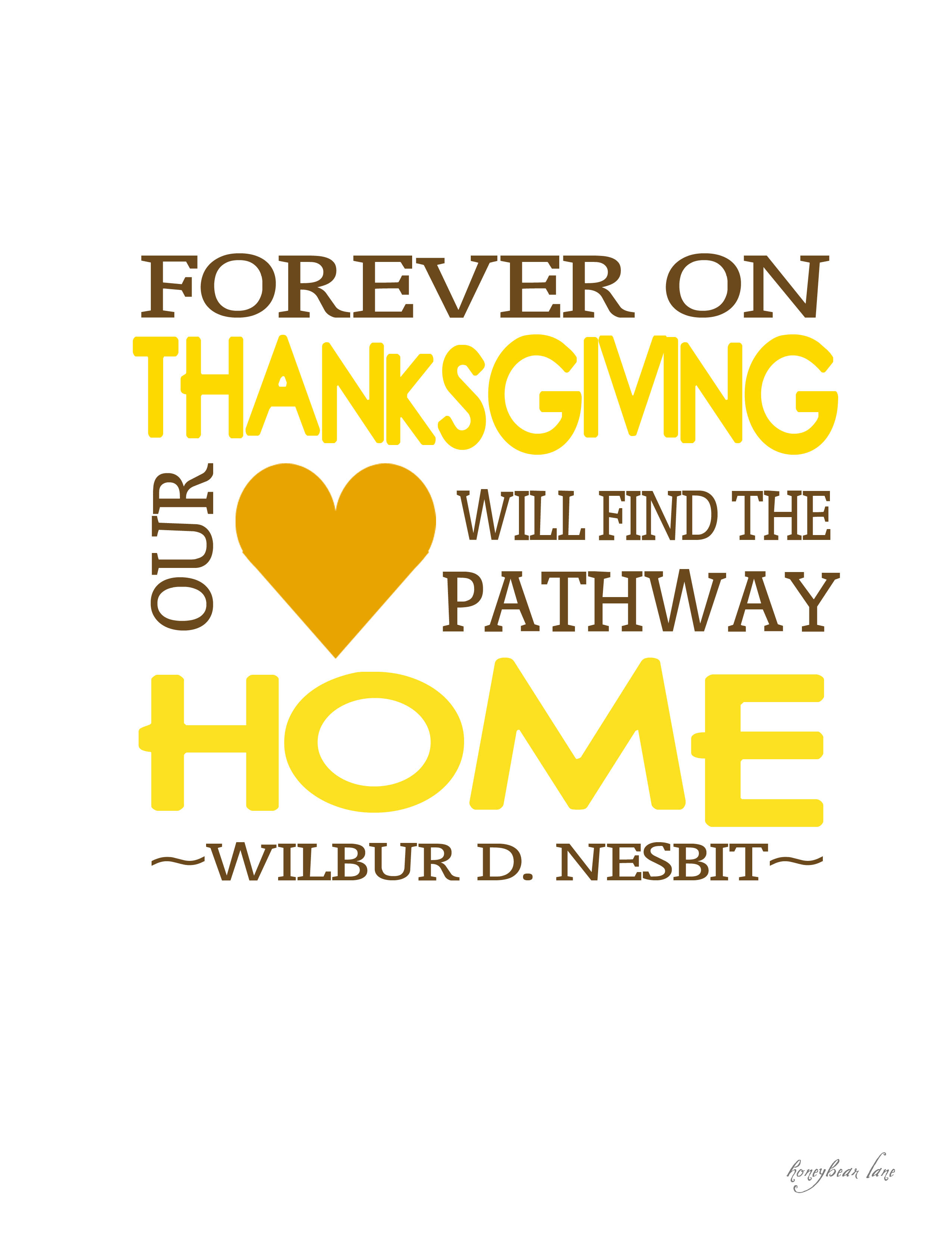 Quote On Thanksgiving  Giving Thanks Thanksgiving Printables HoneyBear Lane