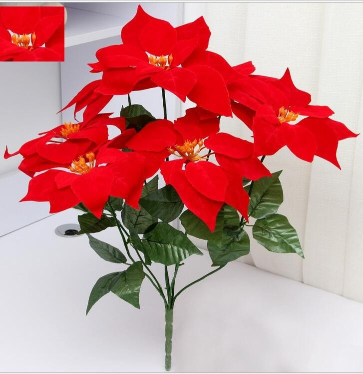 Red Christmas Flower Names  artificial flowers poinsettia christmas flower home