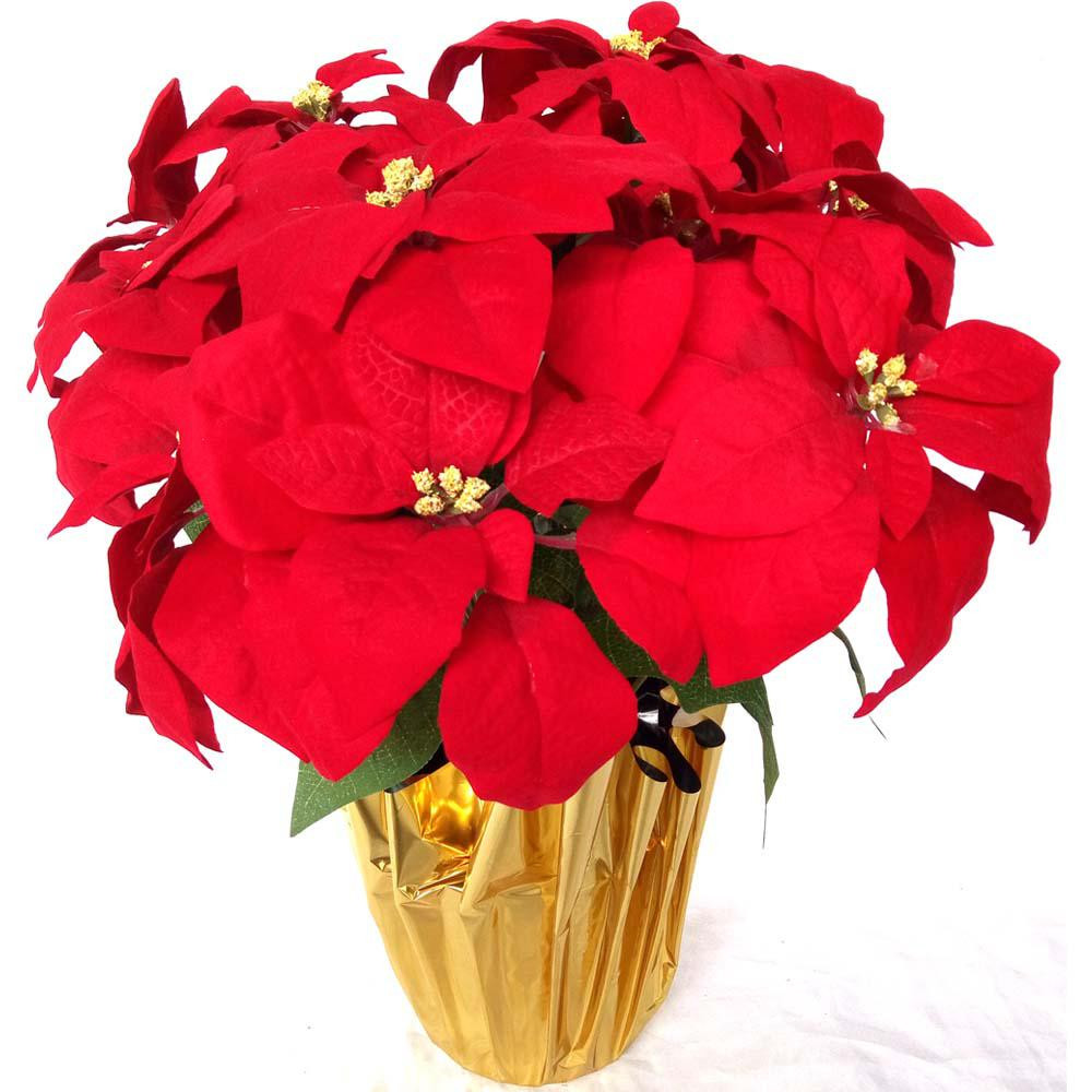 Red Christmas Flower Names  Home Accents Holiday 21 in Silk Poinsettia Arrangement