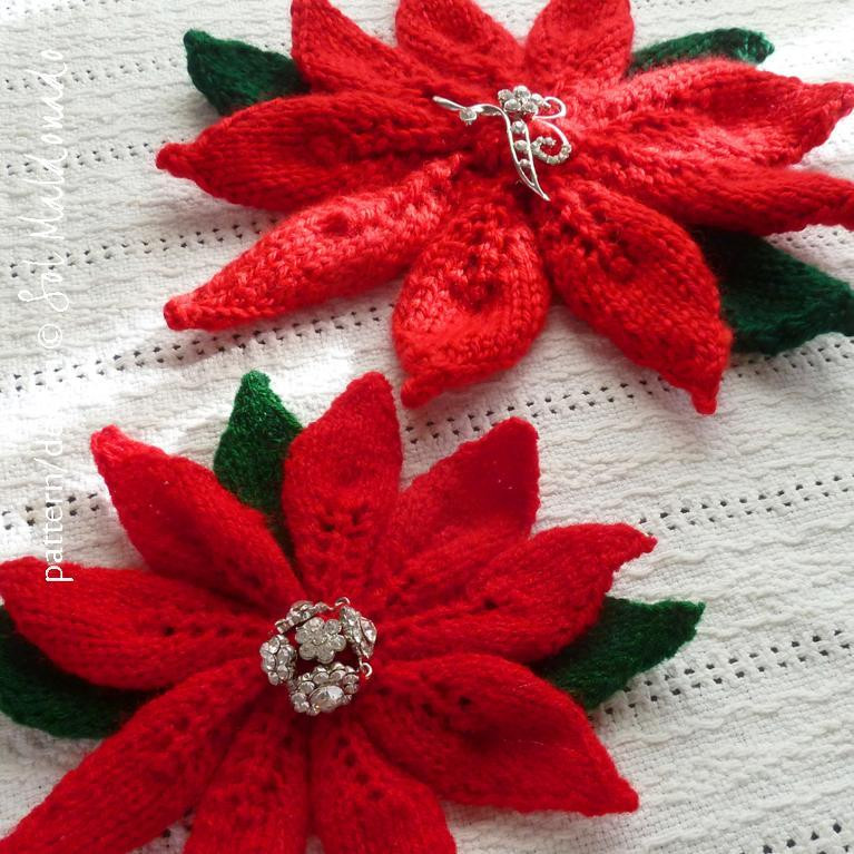 Red Christmas Flower Names  christmas flower poinsettia knit by Soles Craftsy