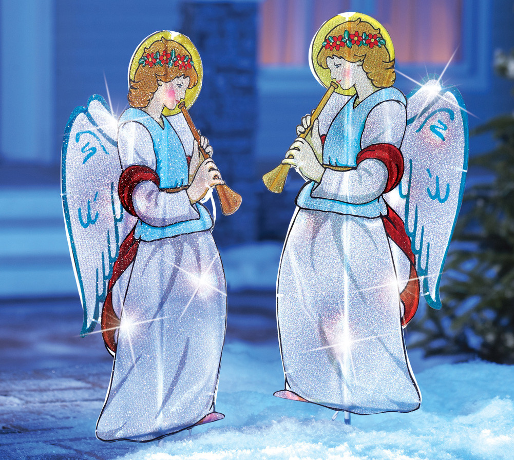 Religious Outdoor Christmas Decorations  Set of 2 Outdoor Lighted Christmas Angels Yard Lawn