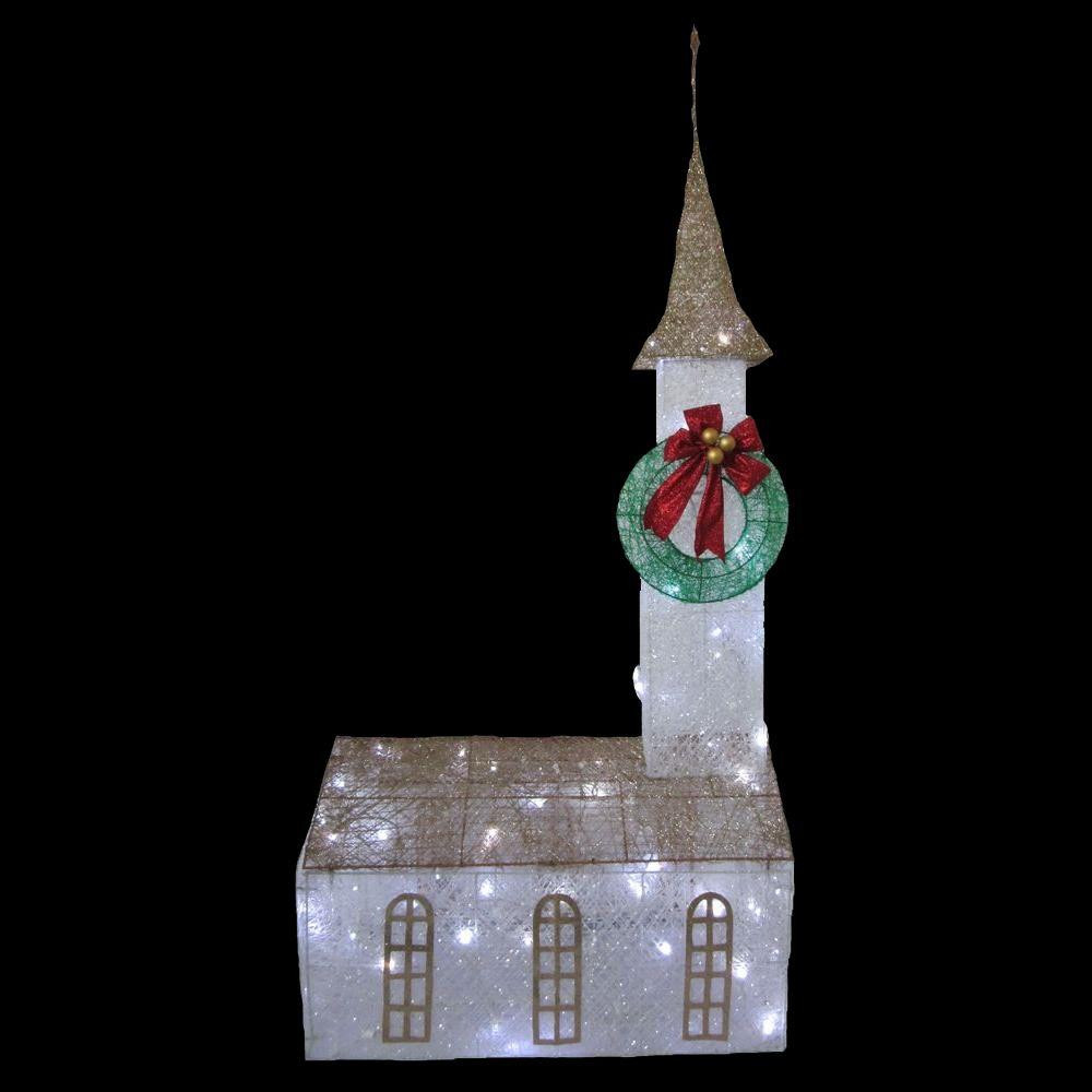 Religious Outdoor Christmas Decorations  Home Accents Holiday 6 ft Pre Lit Twinkling Church TY372