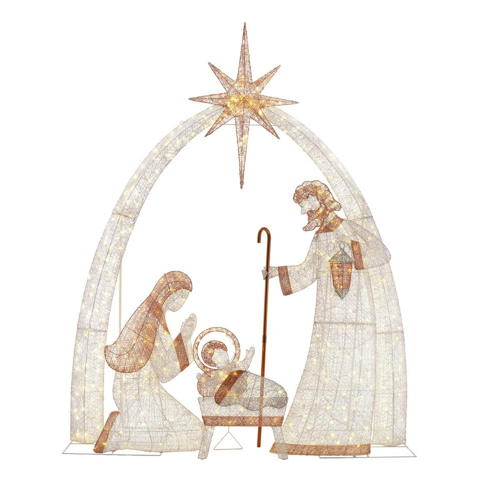 Religious Outdoor Christmas Decorations  Home Accents Holiday 120 in 440 Light LED Giant Nativity