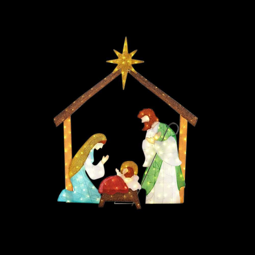 Religious Outdoor Christmas Decorations  Home Accents Holiday 66 in LED Lighted Tinsel Nativity