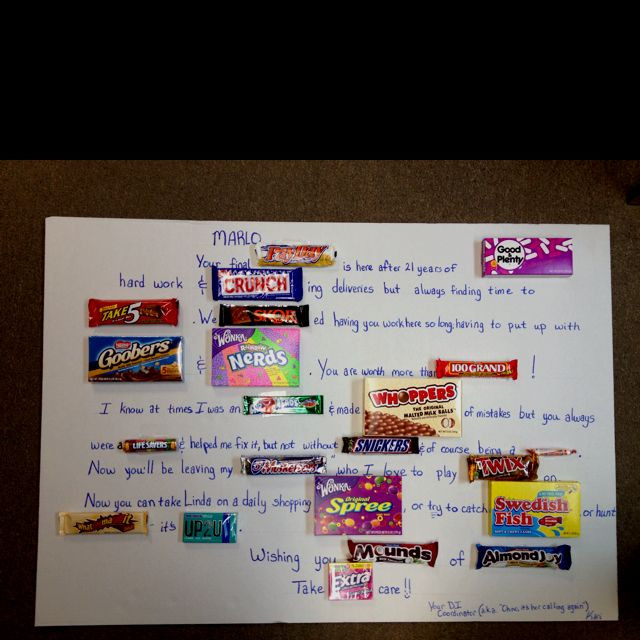 Retirement Party Game Ideas  Candy card made for retiring co worker