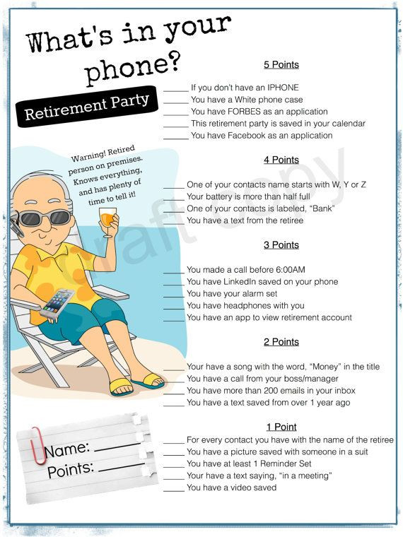 Retirement Party Game Ideas  Retirement Party Game Whats in your phone