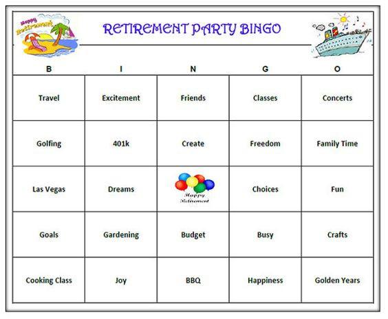 Retirement Party Game Ideas  Bingo Retirement and Retirement parties on Pinterest