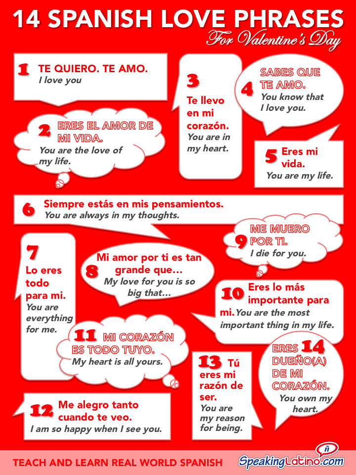 Romantic Quotes In Spanish  Spanish Love Phrases For Valentine s Day Infographic