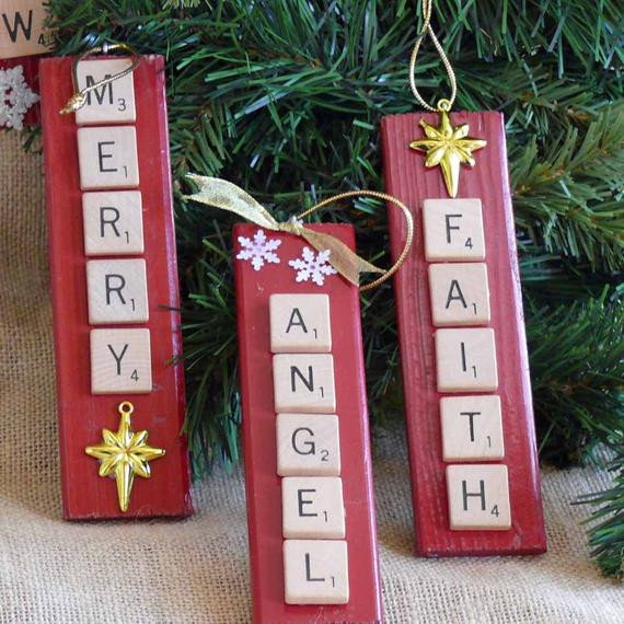 Scrabble Tile Christmas Ornaments  Items similar to Scrabble Tile Christmas Ornaments on Etsy