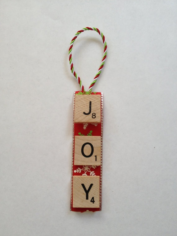 Scrabble Tile Christmas Ornaments  Scrabble Ornament $7 00 via Etsy