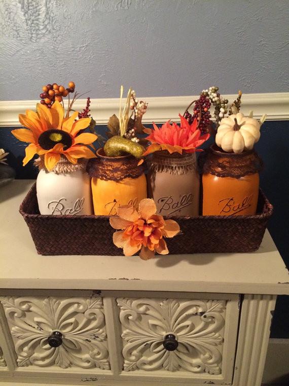 Shabby Chic Fall Decor  17 Shabby Chic Handmade Fall Mason Jar Decor Ideas For The