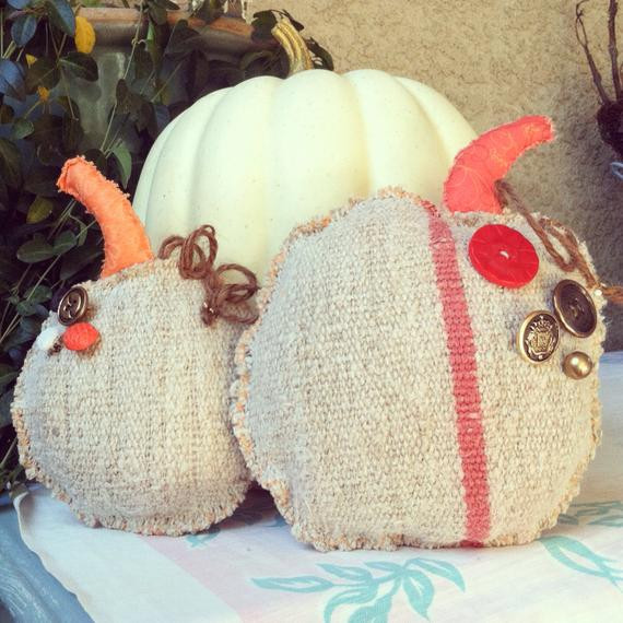 Shabby Chic Fall Decor  Linen pumpkins shabby chic fall decor by PillowsBeyond on Etsy